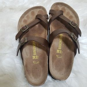 Birkenstock Brown Leather Mayari Sandals Size 38/8